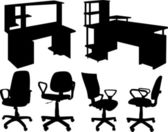 Office chairs and tables isolated on white — Stock Vector