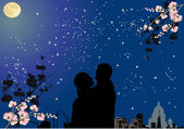 Couple under star sky and full moon — Stock Vector