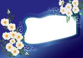 White brier flowers and blue frame illustration — Stock Vector