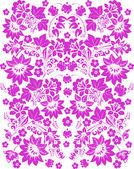 Dunkel rosa Blumenmuster auf weiß — Stockvektor