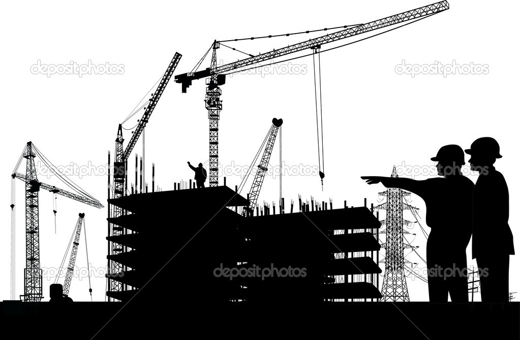 Illustration with builder and crane silhouettes — Stock Vector #6649137