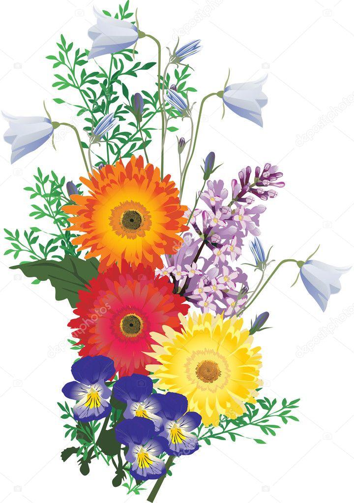 Different color flowers bouquet illustration stock for Different color roses bouquet