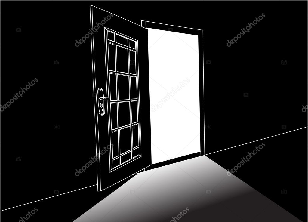 Illustration with open door outline on black background — Stock Vector #6649337