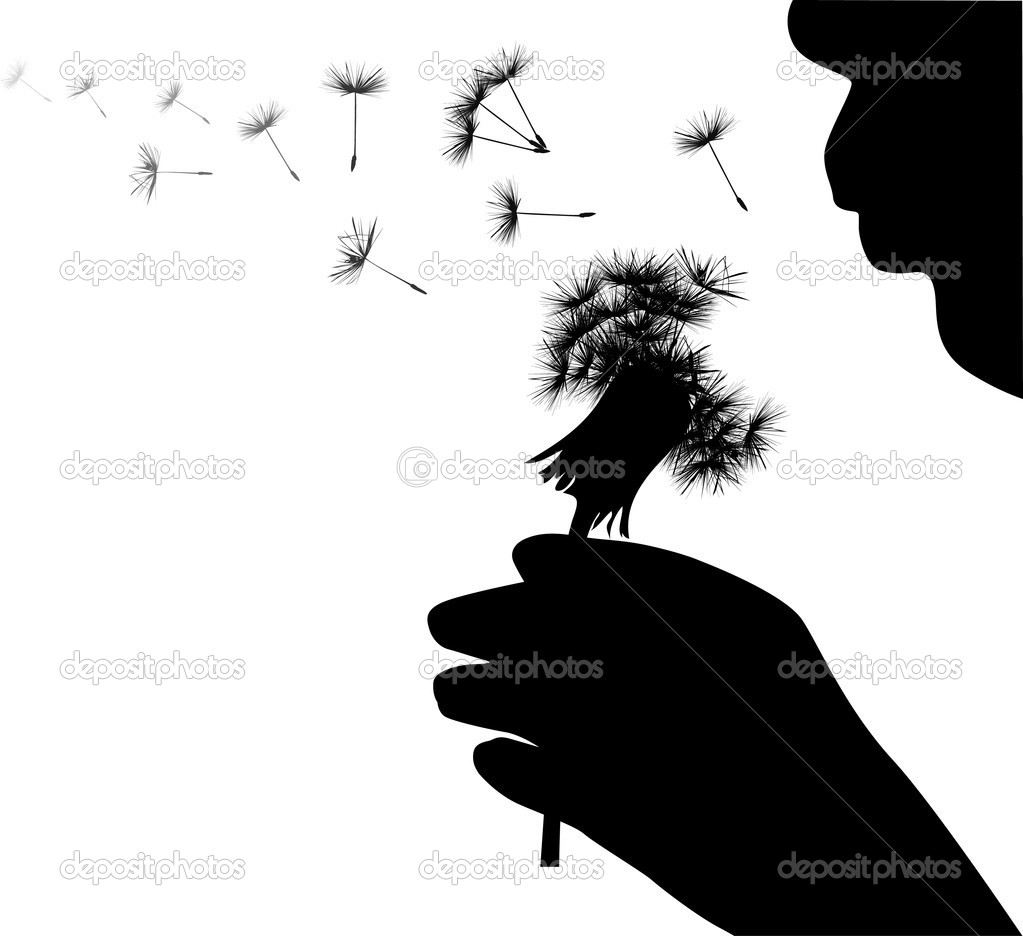 Stock Vector Dr Pas 6261329: Human Blowing On Dandelion Illustration