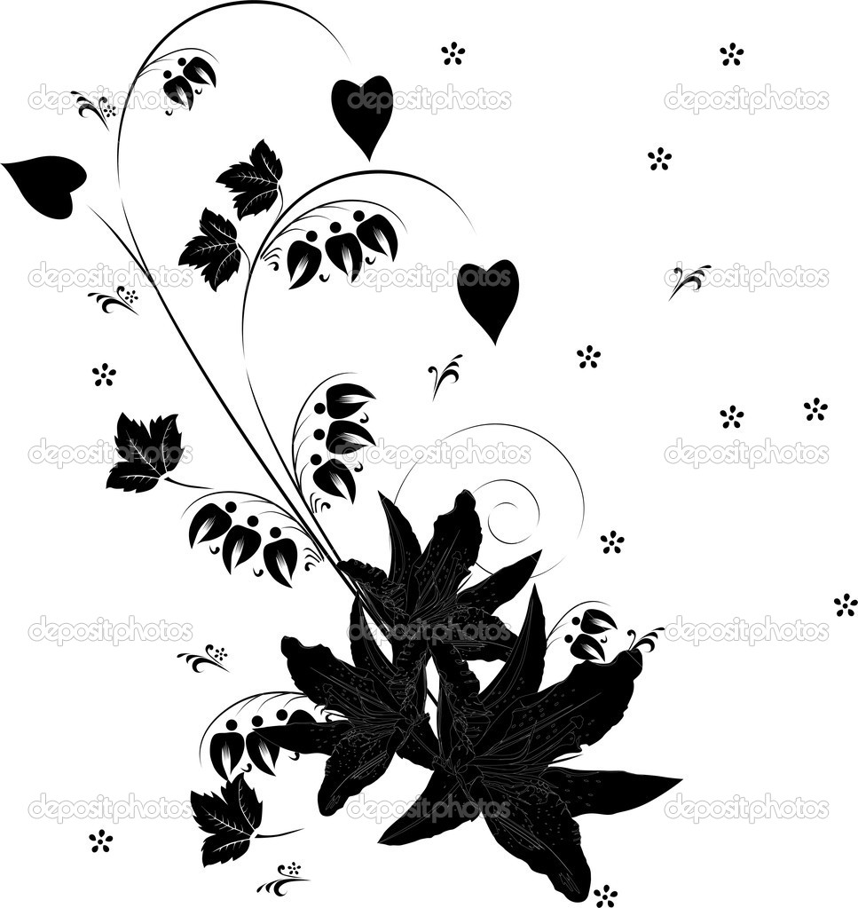 Stock Vector Dr Pas 6261329: Lily Bouquet Silhouette On White