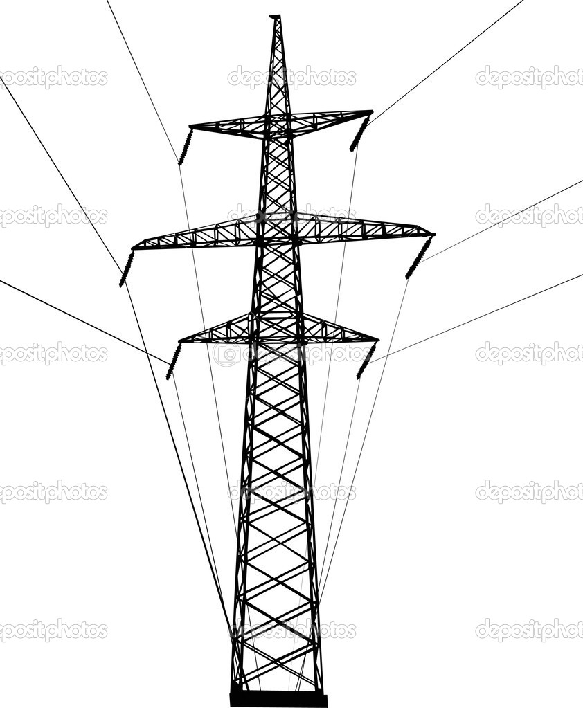 Stock Vector Dr Pas 6261329: Electrical Pylon Isolated On White