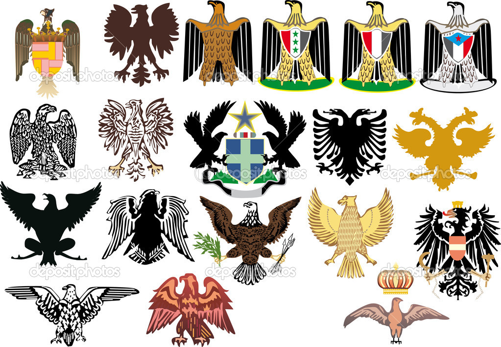 Illustration with different heraldic eagles on white background — Stock Vector #6649836