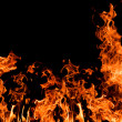 Large orange fire on black — Stock Photo