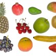 Set of isolated fruits — Stock Photo