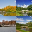Four seasons of old bridge — Stock Photo