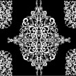 White abstract pattern with decorated flowers -  