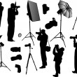 Set of photographers and equipment — Stock Vector