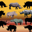 Stock Vector: Set of eleven rhinoceroses