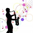 Stock Vector: Saxophonist silhouette on music background