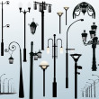 Street lamps on light background — Stock Vector #6650467