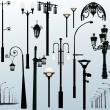 Street lamps on light background - Stock Vector
