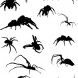 Fifteen spider silhouettes — Stock Vector