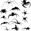 Stock Vector: Thirteen isolated spider silhouettes