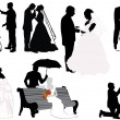 Wedding couples collection — Stock Vector