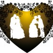 Two wedding couples silhouette in heart shape frame — Stock Vector #6650653