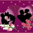Stock Vector: Wedding couples in heart shape frames