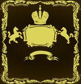 Golden heraldic frame with horses — Stock Vector