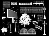 Set of park elements on black — Stock Vector