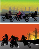 Streets and silhouettes of men on motorcycles — Stock Vector