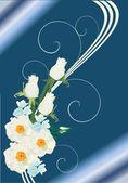 White rose pattern on blue — Stock Vector
