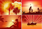 Four orange summer sunset compositions — Stock Vector