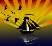Yacht och måsar vid solnedgången — Stockvektor
