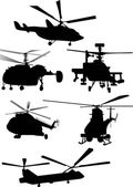 Six helicopter silhouettes on white — Stock Vector