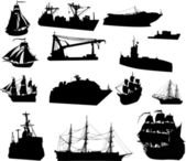 Large set of ship silhouettes — Stock Vector