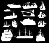 Grande set di sagome nave bianca — Vettoriale Stock