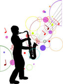 Saxophonist silhouette on music background — Stock Vector