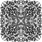 Square curled pattern with black flowers — Stock Vector