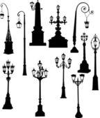 Set of eleven street lamps — Stock Vector