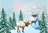 Deers in winter forest — Stock Vector