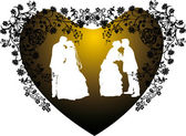 Two wedding couples silhouette in heart shape frame — Stock Vector