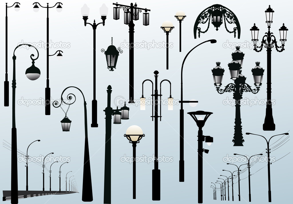 Illustration with street lamps collection — Stock Vector #6650467