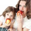 Stock Photo: Mom and daughter with apples - healthy life