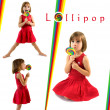 Little girl with lollipop. Collection of photos isolated on white backgroun — 图库照片