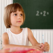 Stock Photo: Elementary school pupil writing in a classroom