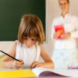 Stock Photo: Elementary school pupil working with educator