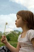Little girl blowing dandelion — Stock Photo