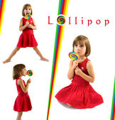 Little girl with lollipop. Collection of photos isolated on white backgroun — Stock Photo