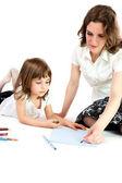 Madre e hija lápiz sobre papel — Foto de Stock