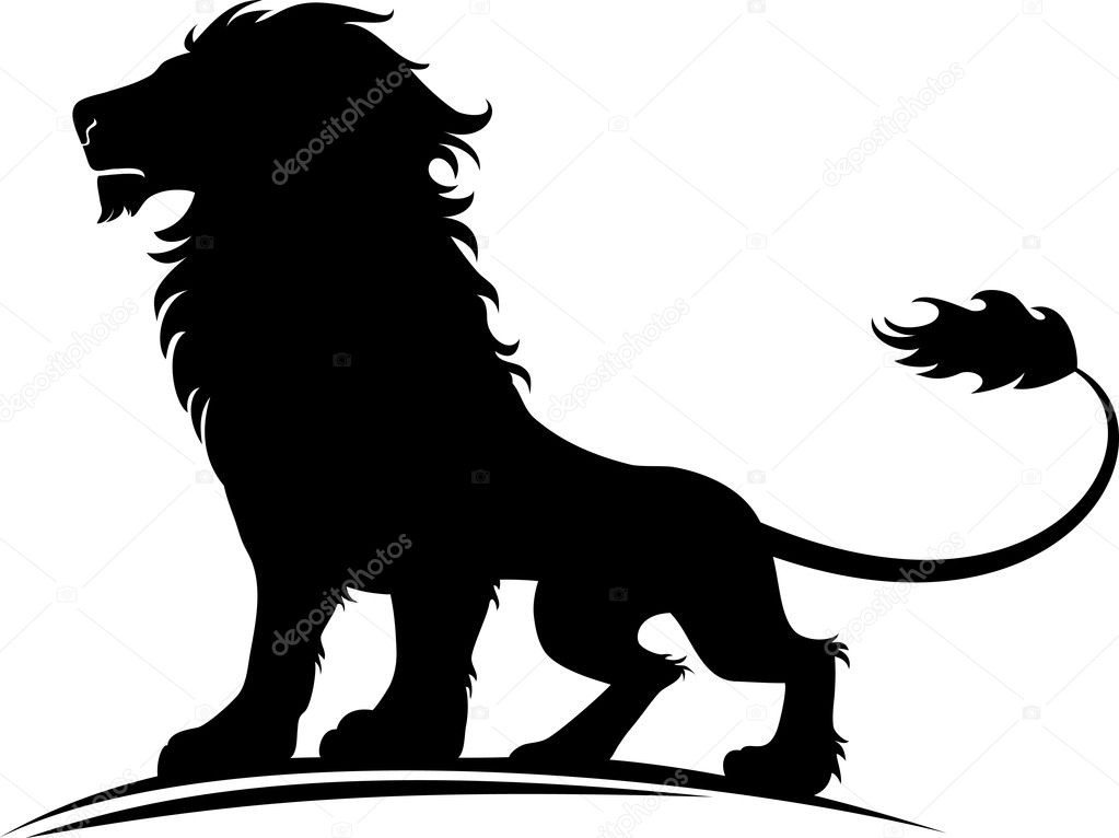 Vector illustration of a silhouette of a proud lion — Stock Vector #6126170