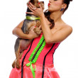 Pin up girl with a dog — Stock Photo