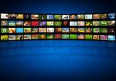 Video wall in multimedia center presentation — Stock Photo